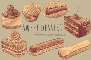 Set Sweet dessert. Vector engraving.
