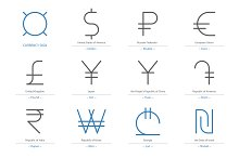 Currency Sign Vector / 12 Signs