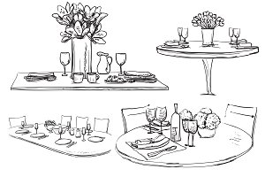Decorated table sketch