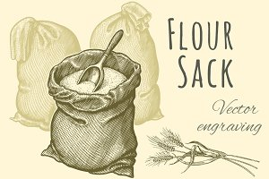 Flour Sack. Vector engraving.