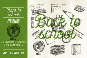 Back to school sketch illustrations