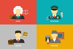 Profession flat avatar icons