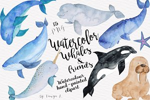 Whales Sea Nautical Watercolor set
