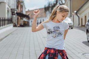 beautiful girl dancing in the street