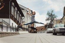 ballerina is dancing in the street