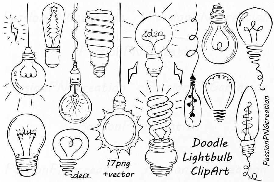 Doodle Light Bulb Clipart ~ Illustrations ~ Creative Market