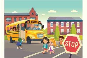 School Buss Stop Illustrations