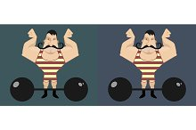 Huge strong circus athlete. Vector