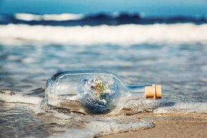 Earth in the bottle.