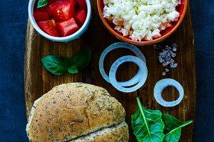 Sandwich with feta cheese