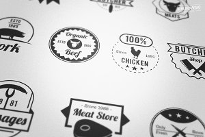 Butcher Meat Shop Badges Logos