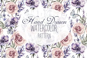 12 HandDrawn Watercolor PATTERNS