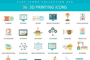 3D printing modeling flat icons set