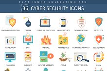 36 Cyber security flat icons set