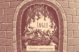 Ingle. Vector engraving.