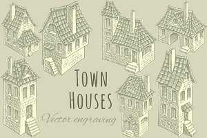 Set Town Houses. Vector engraving.