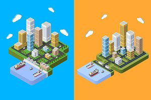 Flat isometric city