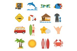 Surfing Travel Icon Set