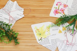 Romantic Floral Envelopes Wood Table