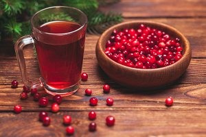 Cranberry tea in a glass cup