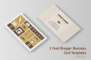 3 Food Blogger Business Cards Temp.