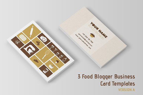 3 food blogger business cards temp business card templates 3 food blogger business cards temp business card templates creative market flashek Gallery