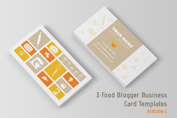 3 food blogger business cards temp business card templates 3 food blogger business cards temp business card templates creative market cheaphphosting Choice Image