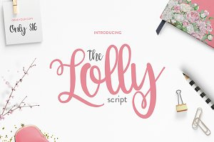 The lolly script only 16 script fonts creative market fandeluxe Images