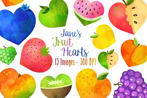 Watercolor Fruit Hearts Clipart