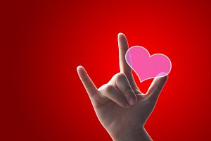 Hand love sign for valentine's day