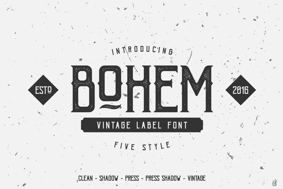 f40c46fcbed Bohem Typeface - 5 Font Styles ~ Display Fonts ~ Creative Market