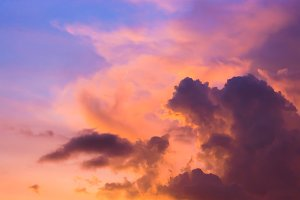 landscape of clouds with sunset sky