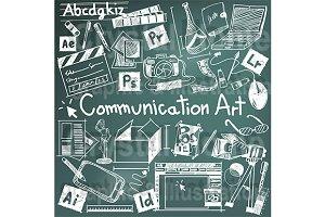 Communication art blackboard doodle