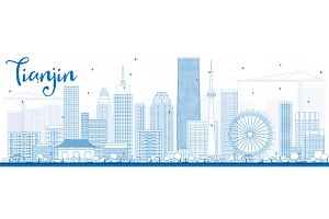 Outline Tianjin Skyline