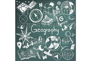 Geography subject blackboard doodle