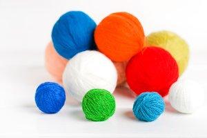 Yarn balls.selective focus