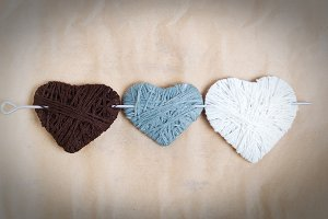 Knitted heart of wool