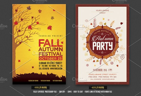 autumn fall flyer bundle flyer templates creative market