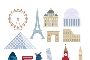 Eurotrip tourism buildings vector
