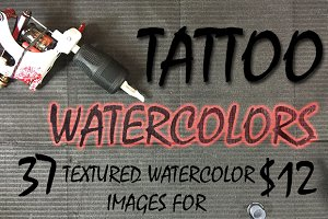 Tattoo textured watercolors