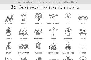 Business motivation discipline icons