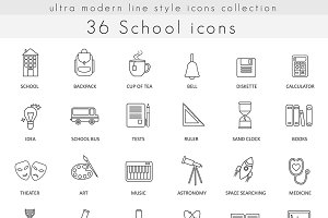 36 School & college line icons set