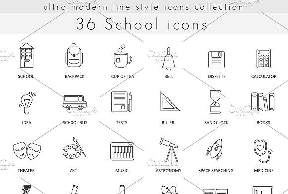 36 School & college line icons set