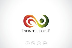 Infinite Wave People Logo Template