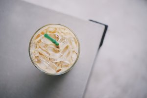 Top view of iced coffee drink