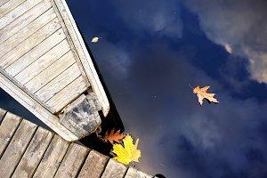 Autumn. Wooden boat