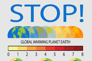 Set of Global Warming info graphics
