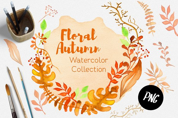 Fall Watercolor clipart Autumn - Illustrations