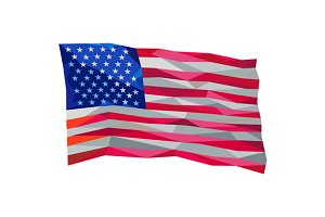 USA Flag Stars and Stripes Low Polyg