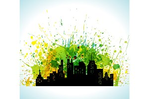 Color Paint Splashes Eco Green City